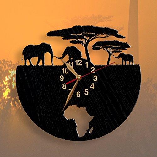 MonaStarLight LARGE African Elephants Wooden BIG Wall Clock, Africa Animals Gift Idea, Black Wall Art Décor #34-40 by MonaStarLight