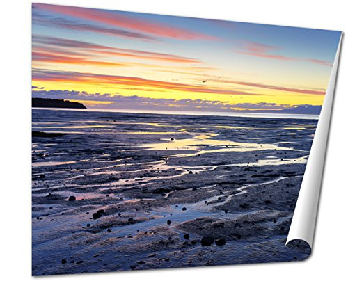 Ashley Giclee Fine Art Print, Alaska Seashore Sunset Plane In The Middle Of The Frame, 16x20, AG6314956 (Alaska Fine Art)