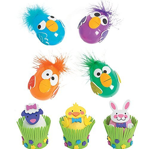 Easter Egg Decorating Crafts Kits - Including Crazy Bird Craft Kit (make 12) and Easter Animal Craft Kit (make 12)]()