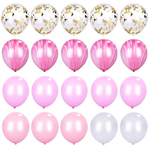 Pink and Gold Confetti Marble Agate White Stripe Balloons Assorted Colors, 12 Inch Pack of 20, Latex Balloon for Baby Shower Birthday Wedding Party Photo-booth Backdrop Arch Decoration Supply Pink - Surface Fabric Marbled Design