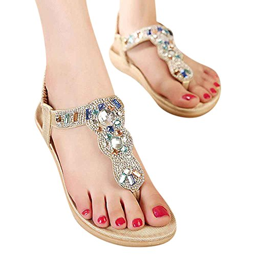 Women's Bohemian Sandals Leisure Beaded Slippers with Rhinestone Ladies Thong Sandals Summer Crystal Sandals Slingback Flip Flops Beach (8 US/EU 39, Gold) (Beaded Beach Sandals)