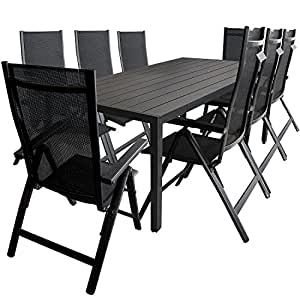 Multistore 2002 - Conjunto de mesa y sillas (9 piezas, para jardín y terraza, mesa de aluminio y madera sintética polywood de 205 x 90 cm, sillas de aluminio con respaldo alto y regulable a 6 alturas, cordaje de tela 4 x 4, reposabrazos de madera sintética), color negro