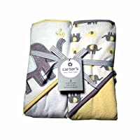 Carters Baby Hooded Towels-White/Yellow Elephant 2Pk
