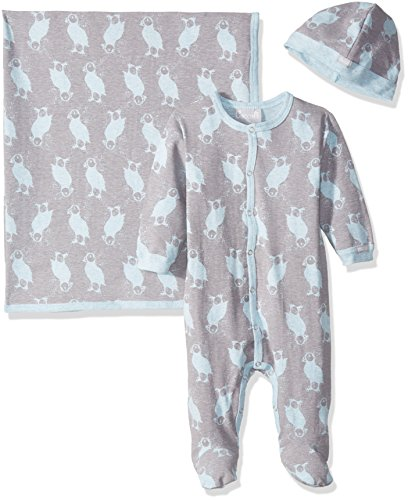 lue Puffin Print Jersey Knit Cotton Footie + Cap + Blanket, Heather Blue/Slate Print, 6 Months ()