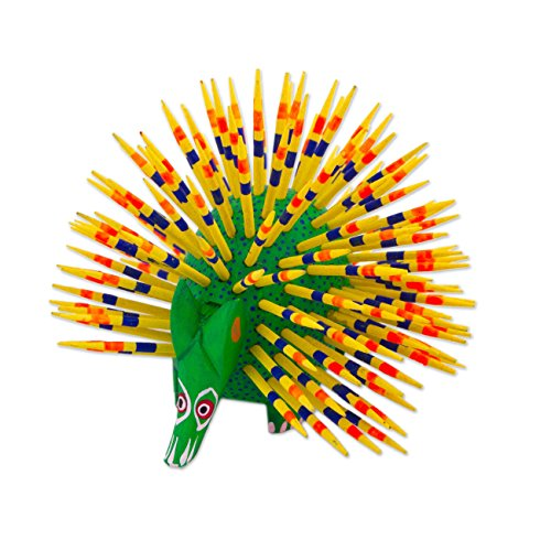 NOVICA Handcrafted Green and Yellow Painted Copal Wood Alebrije Porcupine Statuette Sculpture, Cute Porcupine'
