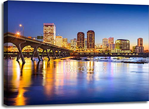 30in. x 40in. Richmond, Virginia, USA Downtown City Skyline. Gallery Wrapped Canvas Art (30in. x 40in.)