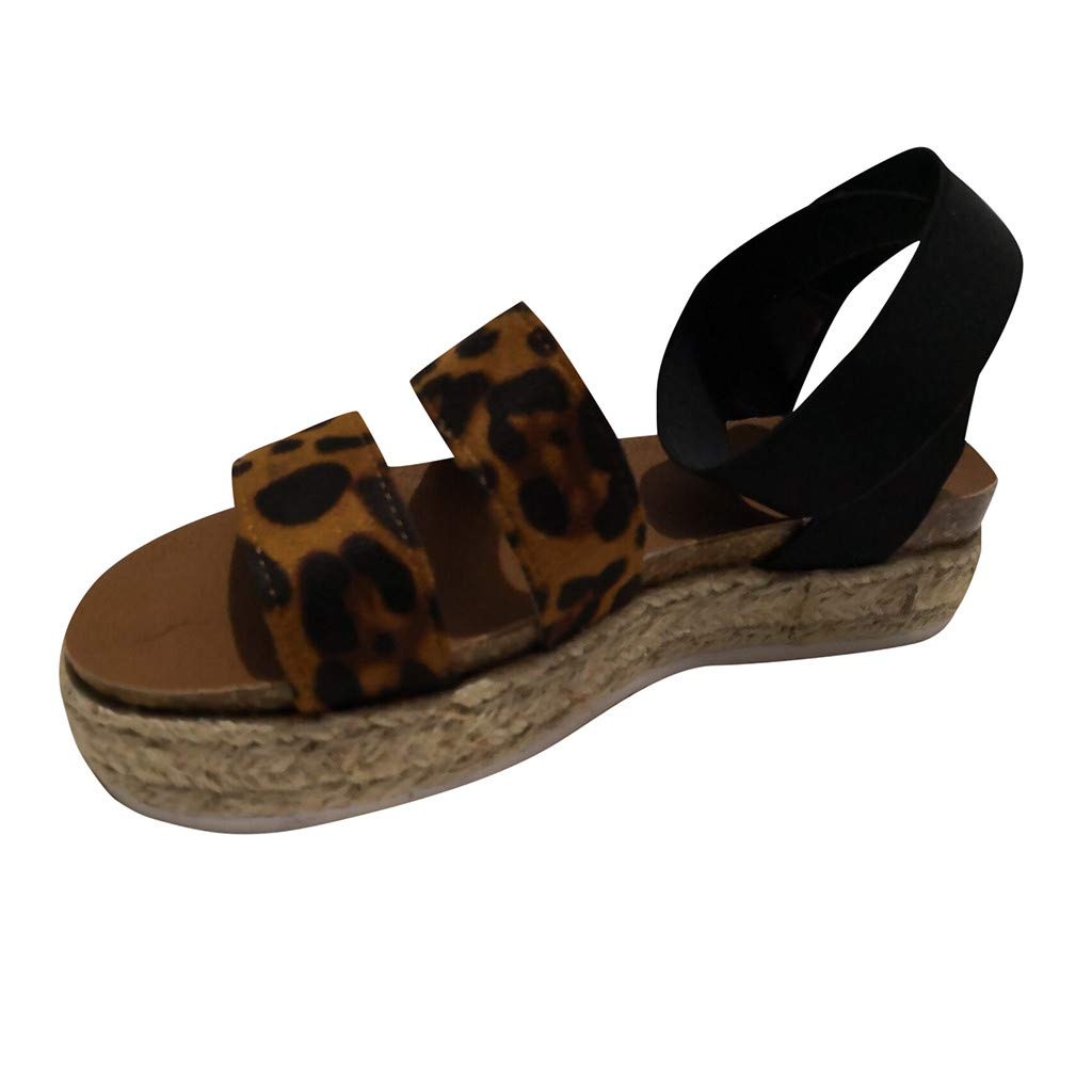 momentDAY.❤️Roman Sandals❤️Summer Womens Fashion Leopard Flats Open Toe Ankle Buckle Elastic Band Straps Adjustable Sandals US 5-9
