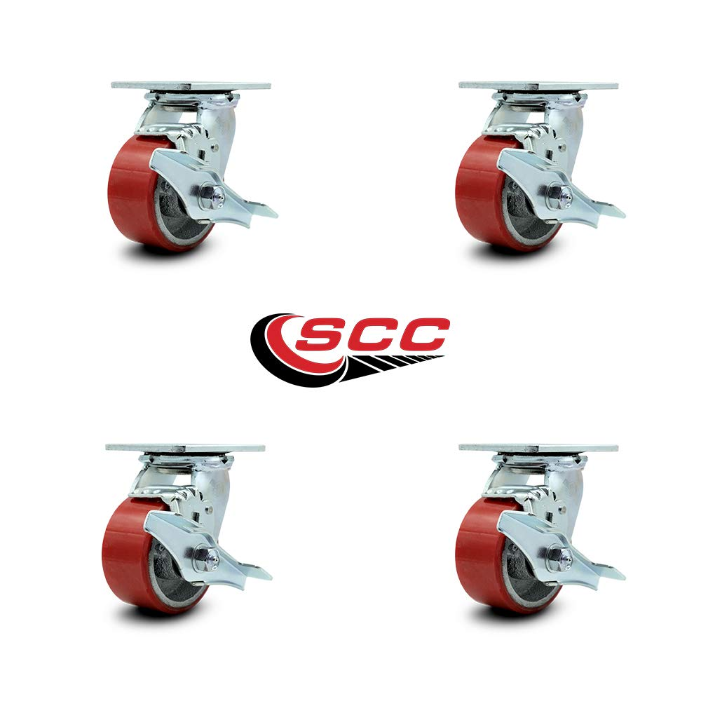 Service Caster - 4'' x 2'' Polyurethane Wheel Caster Set - Red on Silver - Swivel Casters w/Brakes - Non Marking - 2,800 Lbs Total Capacity - Set of 4