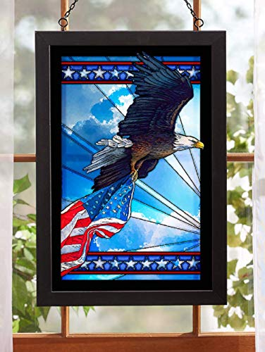 Darby Creek Trading American Flag Bald Eagle Patriotic Stained Glass Art Hanging Panel (Eagle Glass Stained Bald)