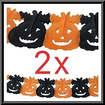 Amazon De Molinorc 2x Halloween Girlande Kurbis 3m Orange