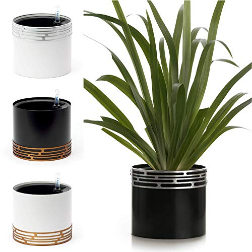 SOW UNIQUE Self Watering Planter Pot Modern Indoor 7 Inch Solid Aluminum Leak Proof Designer Pots with Stylish Decorative Band Stand for Home or Office Plants, Flowers & Succulents (Black/Silver)