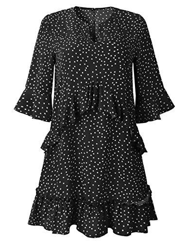 94072d96dff Pandapang-CA Womens Polka Dots T-Shirt Short Print Half Sleeve Beachwear  Ruffled Dress