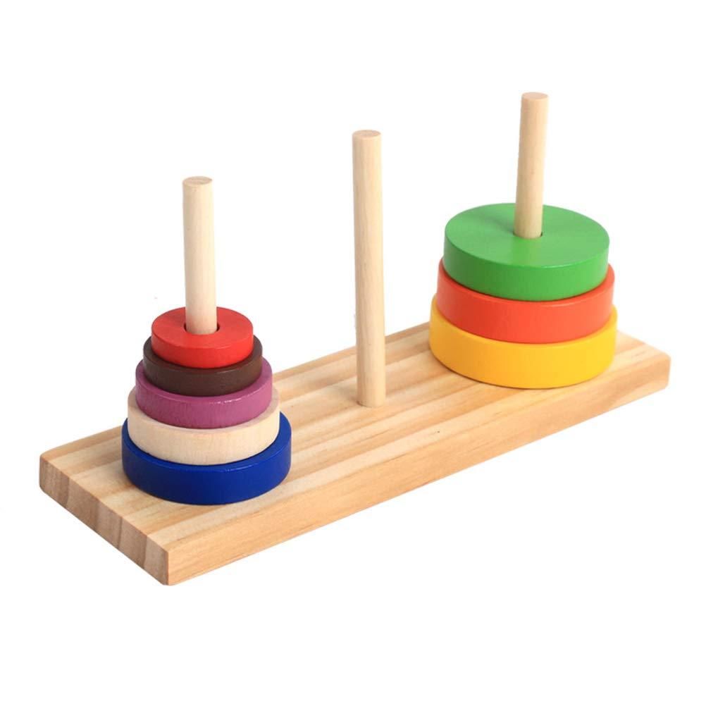 YeahiBaby Set 1/Puzzle in Legno colorato Anello Stacking Tower Sviluppo Giocattoli educativi per Bambini