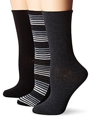 No Nonsense Women's Flat Knit Crew Sock, 3 Pair Pack