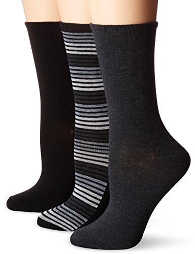 No Nonsense Women's Striped Flat Knit Crew Sock 3-Pack, Black/Grey, (3 Pack Crew Socks)