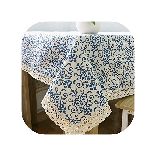 (Tablecloths Retro Linen Cotton Tablecloth Washable Coffee Dinner Blue and White Porcelain Table Cloth for Christmas Wedding Banquet,Table Cloth,140 X 140Cm)