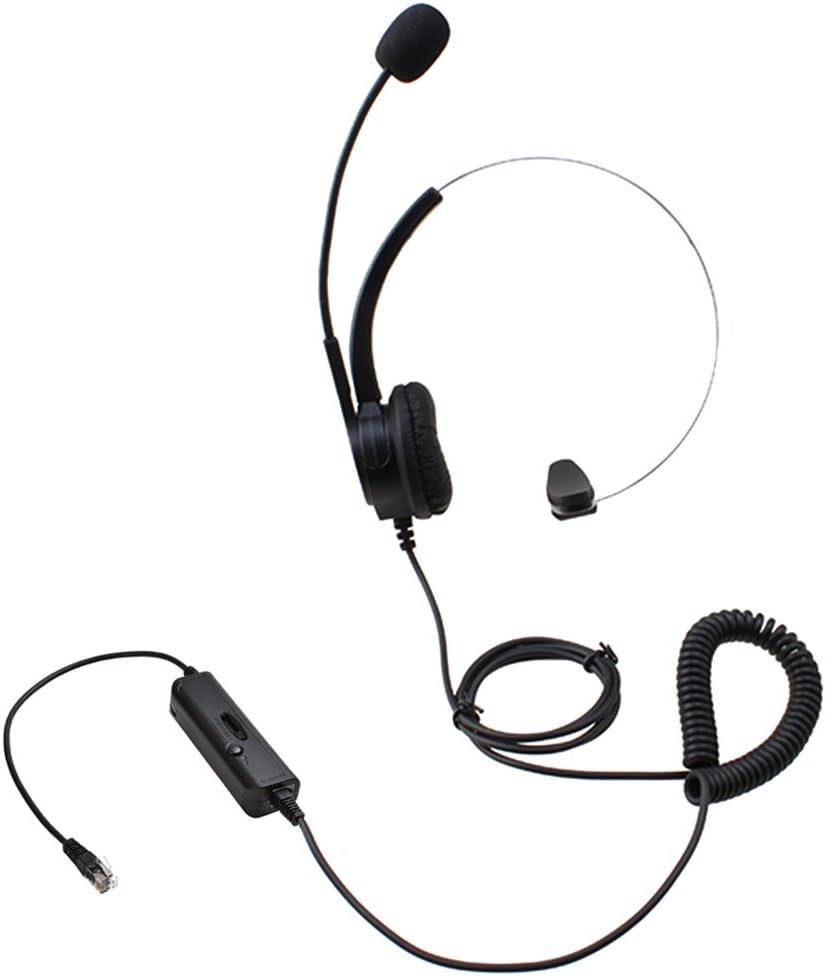 AGPtek Teléfono y Auriculares con micrófonos (HA0021H Auriculares con micrófonos RJ9)