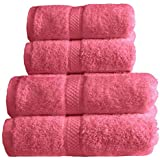 Dreamscene Pure 100% Egyptian Cotton 550gsm 4 Piece Guest Towel Gift Set, Hot Pink