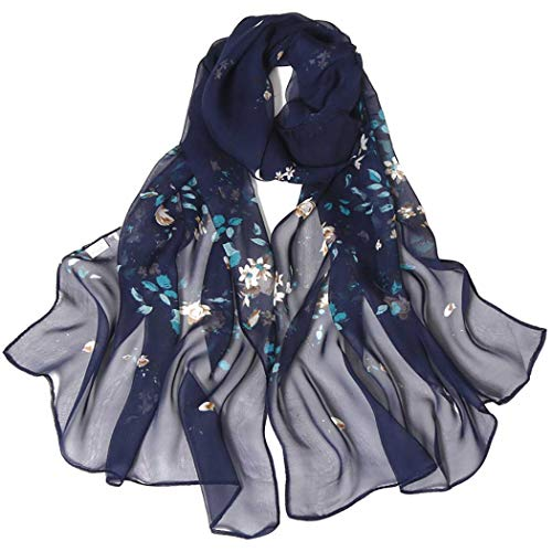 - Print Silk Feeling Scarf Fashion Scarves Lightweight Shawl Scarf Sunscreen Shawls for Womens (Navy Blue)
