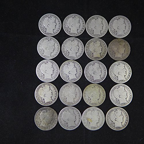 Barber Half Dollars Various Mint Marks Random Dates 90% Silver - 20 Coin Roll Avg Circ AG-G