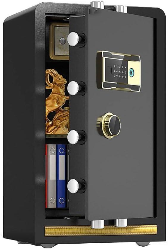 庫 家庭用 小型 テンキー式 壁は現金キーパスポート貴重品用の指紋電子金庫オフィスホームスチールセーフティボックスをマウント 金庫 電子テンキー式 (色 : Black, Size : One size)