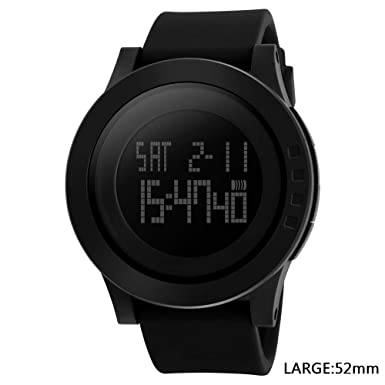 Men s Digital Sports Wrist Watch LED Screen Large Face Electronics Military Watches Waterproof Alarm Stopwatch Back Light Outdoor Casual Watch