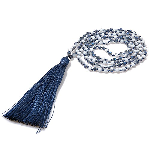 VEINTI+1 Bohemia Crystal Glass Beads with Tassels Long Sweater Chain Women's Winter Necklace (L-Navy)