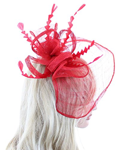 Southern Belle Cocktail Fashion Fascinator Hat with Flowers Feathers and Veil (Red)