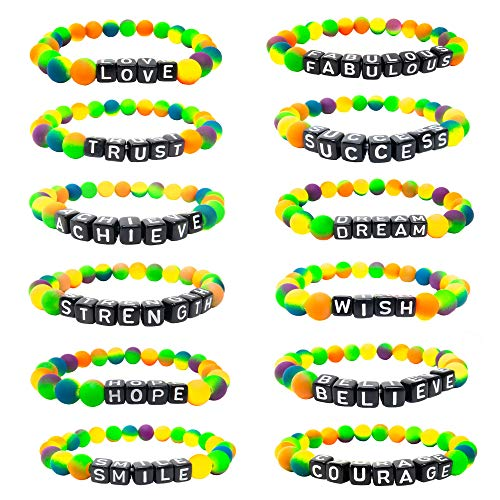 12 Neon Kandi Rave Bracelets, Tie-Dye Candy Bracelets - EDM Music Festival Accessories Clothing for Women, Stackable Jewelry Rave Accessories for Women, Kandy Rave Clothes Wear, Kandi Bracelet Gear ()