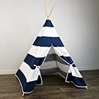 Kids Teepee Tent in Navy Blue & White Stripe - Includes Large Stripe Canvas T...
