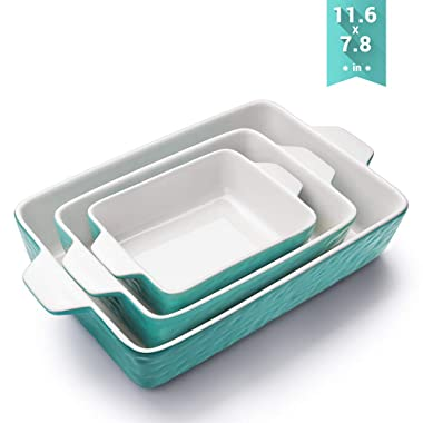 Bakeware Set, Krokori Rectangular Baking Pan Ceramic Glaze Baking Dish for Cooking, Kitchen, Cake Dinner, Banquet and Daily Use - Aquamarine, 3 Pack of Rectangular