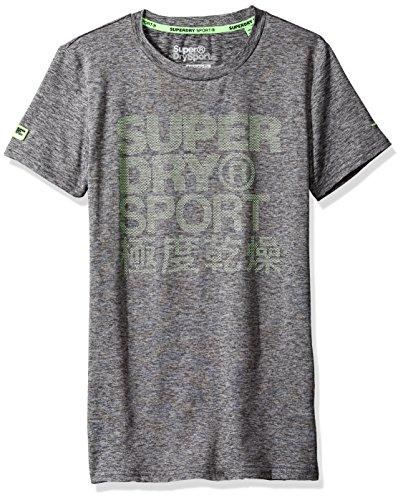 Superdry Men's Sports Athletic Graphic Tee, Steel Grey Granite,