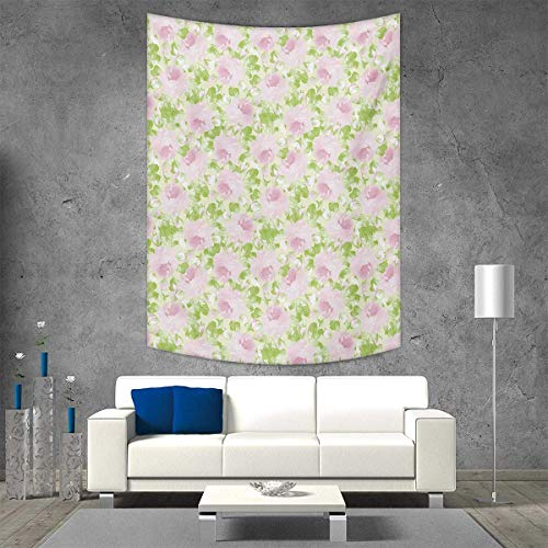 smallbeefly Shabby Chic Vertical Version Tapestry Classical Spring Yard Florescence Pastel Colored Flourish Pattern Throw, Bed, Tapestry Yoga Blanket 54W x 72L INCH Pale Pink Pale Green ()