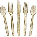 Juvale 144-Pack Gold Glitter Plastic Silverware Set - Disposable Party Cutlery Utensils, Includes 48 Spoons, 48 Forks, 48 Knives