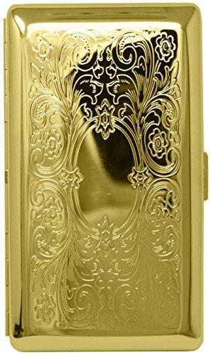Gold Victorian Scroll (Full Pack 120s) Metal-Plated Cigarette Case & Stash Box (Gold Metal Cigarette Case)