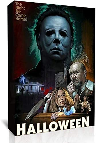 UETECH Wall Art Picture Home Wall Decor Halloween Michael Myers Night He Came Home Framed