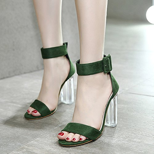 Womens Clear Crystal Thick High Heel Sandals Ladies Suede Open Toe Buckle Dress Wedding Party Evening Shoes Green ozrM3UG