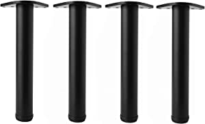 16 Inch Adjustable Metal Desk Table Furniture Legs, Replacement Leg Legs for Coffee Table, Desk, etc, Set of 4 (Black)