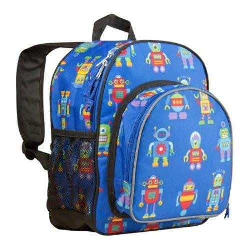 1pc Kids Blue Robot Backpack, Strap Back Outerspace, Polyester, Roboitc Yellow Red Purple, Gears Cyborg Bionic Fun School Bag