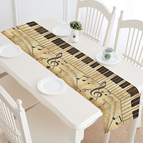 InterestPrint Music Note Treble Clef Table Runner Home