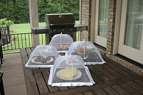 Luxury Food Nets | Pack of 4 | Easy Pop Up and Collapsible Umbrella | White Mesh Bug Net | Cake Cover | Reusable Outdoor BBQ Food Tent | 2 Sizes | Mosquito and Insect Screen | Keep Bugs Out by Aunty Claudia's Covers (Image #4)