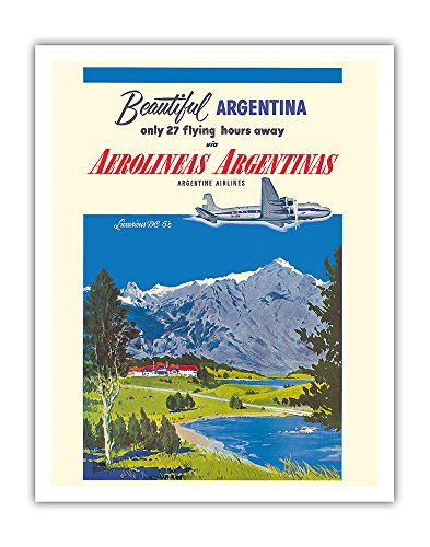 Pacifica Island Art Beautiful Argentina - Aerolineas Argentinas (Argentina Airlines) - Luxurious Douglas DC-6s - Vintage Airline Travel Poster by Adolph Treidlerc.1955 - Fine Art Print - 11in x 14in