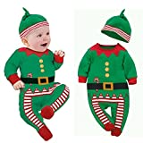 Clearance!Napoo Cute Christmas Print Baby Boy Girl Romper with Hat Outfits Gift for 0-24M