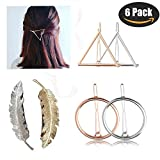triangle Hair Accessories Clips for Women/Girls - Silver Gold Triangle Leaf Circle Bobby Pins Barrettes