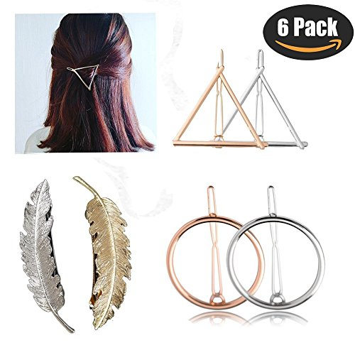 Hair Accessories Clips for Women/Girls - Silver Gold Triangle Leaf Circle Bobby Pins (Gold Leaf Circle Pin)