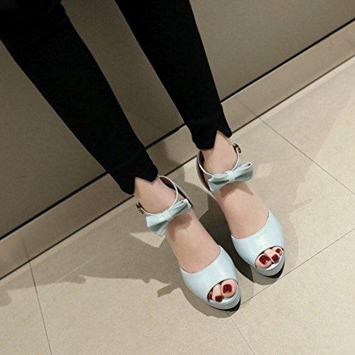 Sandali Piattaforma RAZAMAZA Blue Donna 1 Peep Toe qxwwT6f