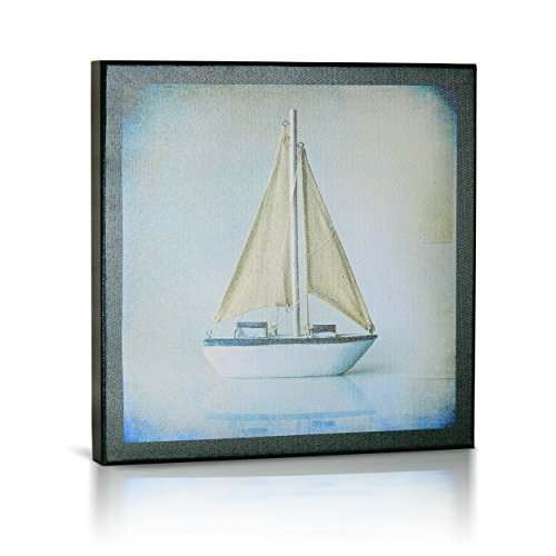 Child Wall Art Sailboat (Elegant Sailboat, Lithograph Canvas Art, Nautically Themed Sailboat for Baby Nursery, Modern Kids Rooms, Home Décor, Wall Art, Great Gift, 14 X 14)