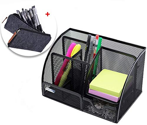 BESTBAOU Office Products, Mesh Desk Organizer, with 6 Compartements + Drawer, Compact Caddy for Desk Accessories, The…