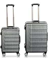 QuaCity Luggage Sets Aluminum Frame PC+ABS Spinner Hard Shell TSA Approved Suitcase 2 Piece Set (20 24)