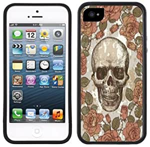 meilz aiaiVintage Floral Skull Handmade iPhone 5 5S Black Bumper Plastic Casemeilz aiai